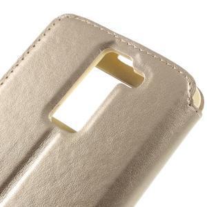Richi PU kožené puzdro pre mobil LG K8 - zlaté - 7