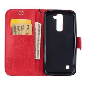 Dandelion PU kožené puzdro pre mobil LG K8 - červené - 7