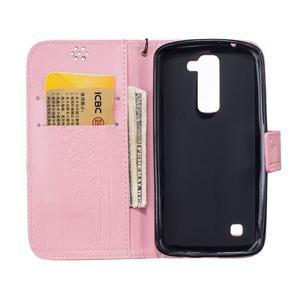Dandelion PU kožené puzdro pre mobil LG K8 - ružové - 7
