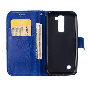 Dandelion PU kožené pouzdro na mobil LG K8 - modré - 7
