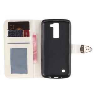 Luxusní PU kožené puzdro s přezkou na LG K8 - biele - 7