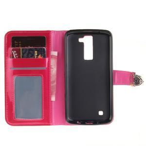 Luxusní PU kožené puzdro s přezkou na LG K8 - rose - 7