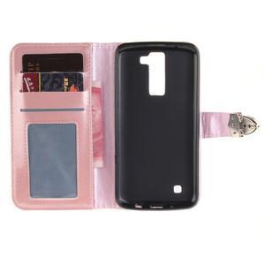 Luxusní PU kožené pouzdro s přezkou na LG K8 - růžové - 7