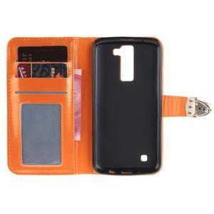 Luxusní PU kožené puzdro s přezkou na LG K8 - oranžové - 7