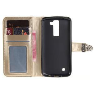 Luxusní PU kožené pouzdro s přezkou na LG K8 - champagne - 7