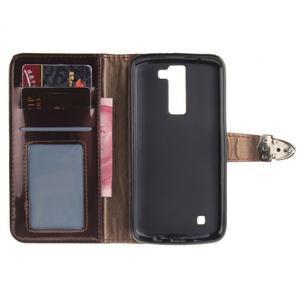 Luxusní PU kožené puzdro s přezkou na LG K8 - hnedé - 7