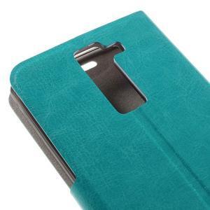 Horse PU kožené pouzdro na mobil LG K8 - zelenomodré - 7