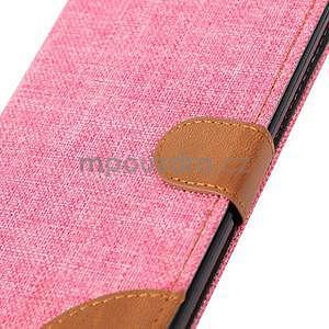 Ružové peňaženkové látkove / PU kožené puzdro pre Asus Zenfone 2 ZE551ML - 7