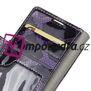 SnakeŠtýle PU kožené peňaženkové puzdro pre HTC One A9s - fialové - 7