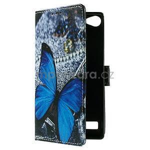 Peňaženkové PU kožené puzdro Lenovo Vibe X2 - Modrý motýľ - 7