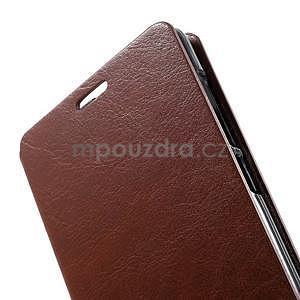Peňaženkové kožené puzdro na Lenovo A536 - hnedé - 7