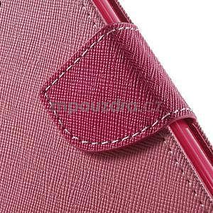 Dvojfarebné peňaženkové puzdro pre iPhone 5 a 5s - ružové/rose - 7