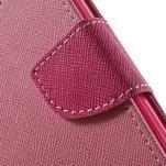 Dvojfarebné peňaženkové puzdro pre iPhone 5 a 5s - ružové/rose - 7/7