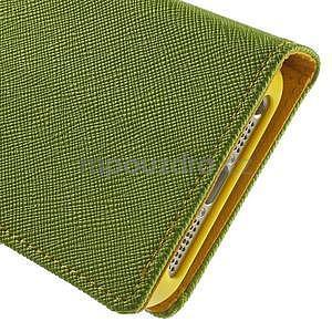 Dvojfarebné peňaženkové puzdro na iPhone 5 a 5s - zelené/ žlté - 7