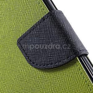 Dvojfarebné peňaženkové puzdro na iPhone 5 a 5s - zelené/ tmavomodré - 7