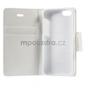 Peňaženkové koženkové puzdro na iPhone 5s a iPhone 5 - biele - 7
