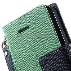 Dvojfarebné peňaženkové puzdro na iPhone 5 a 5s - azurové/ tmavomodré - 7