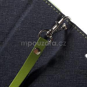 Dvojfarebné peňaženkové puzdro pre iPhone 5 a 5s - tmavomodre/zelené - 7
