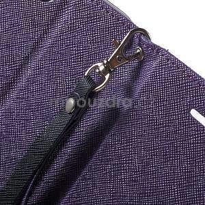 Dvojfarebné peňaženkové puzdro na iPhone 5 a 5s - fialové/tmavomodré - 7