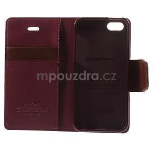 Peňaženkové koženkové puzdro na iPhone 5s a iPhone 5 -  vínové - 7