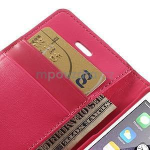 Dvojfarebné peňaženkové puzdro pre iPhone 5 a 5s - rose/ružové - 7