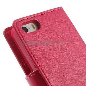 Peňaženkové koženkové puzdro na iPhone 5s a iPhone 5 -  rose - 7