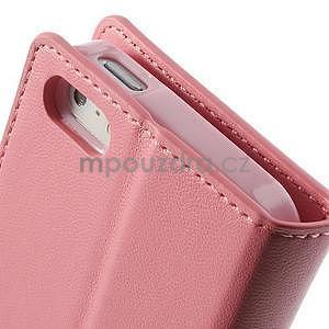 Peňaženkové koženkové puzdro na iPhone 5s a iPhone 5 - ružové - 7
