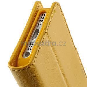 Peňaženkové koženkové puzdro pre iPhone 5s a iPhone 5 - žlté - 7