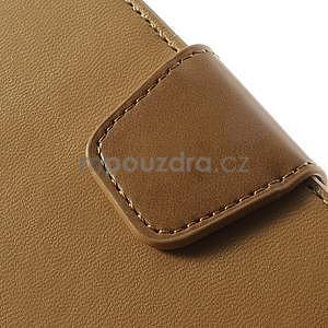 Peňaženkové koženkové puzdro pre iPhone 5s a iPhone 5 - coffee - 7