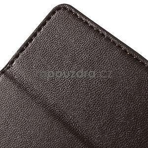Peňaženkové koženkové puzdro na iPhone 5s a iPhone 5 - hnedé - 7