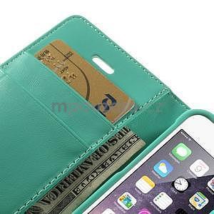 Peňaženkové koženkové puzdro na iPhone 5s a iPhone 5 - azurové - 7