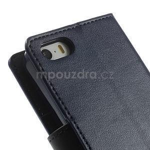 Peňaženkové koženkové puzdro pre iPhone 5s a iPhone 5 - tmavomodré - 7