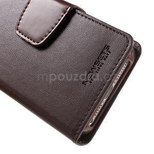 Peňaženkové koženkové puzdro na iPhone 5 a iPhone 5s - tmavohnedé - 7