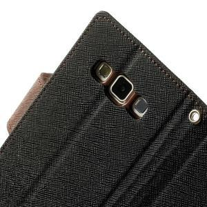 Diary PU kožené puzdro na Samsung Galaxy A3 - čierne/hnedé - 7