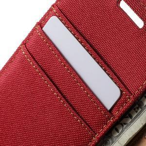 Luxury textilné / koženkové puzdro na Samsung Galaxy A3 - červené - 7