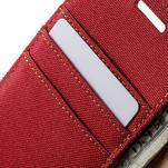 Luxury textilné / koženkové puzdro na Samsung Galaxy A3 - červené - 7/7