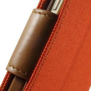 Luxury textilné / koženkové puzdro pre Samsung Galaxy A3 - oranžové - 7