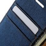 Luxury textilné / koženkové puzdro pre Samsung Galaxy A3    - modré - 7/7