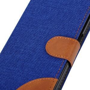 Jeans textilné/koženkové puzdro pre Samsung Galaxy Core Prime - modré - 7