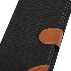 Jeans koženkové / textilné puzdro pre Samsung Galaxy Grand Prime - čierne - 7