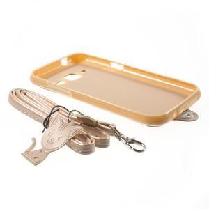 Obal s koženkovým chrbtom a mačičkou Domi pre Samsung Galaxy J1 -  zlatý - 7