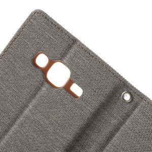 Luxury textilné/pu kožené puzdro pre Samsung Galaxy J5 - šedé - 7