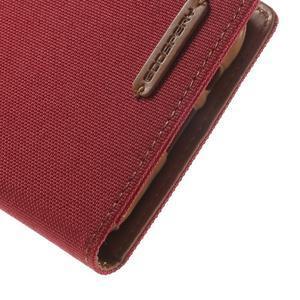 Luxury textilní/pu kožené puzdro na Samsung Galaxy J5 - červené - 7