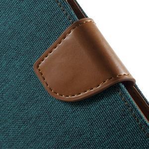 Luxury textilní/pu kožené puzdro na Samsung Galaxy J5 - zelenomodré - 7