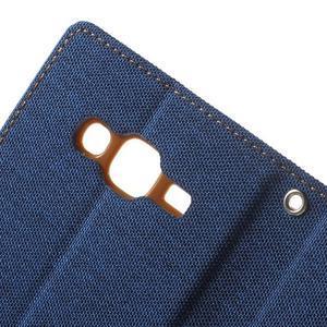 Luxury textilné/PU kožené puzdro pre Samsung Galaxy J5 -  modré - 7