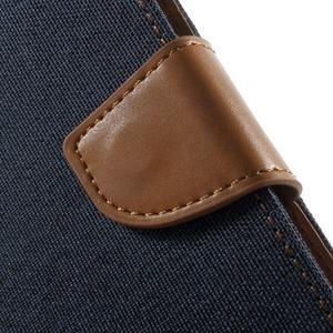 Luxury textilné/PU kožené puzdro pre Samsung Galaxy J5 -  tmavomodré - 7