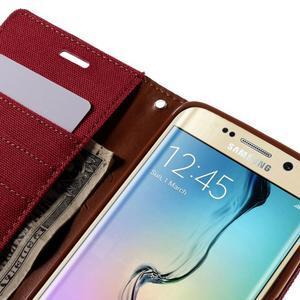 Luxury textilné / koženkové puzdro pre Samsung Galaxy S6 Edge - červené - 7