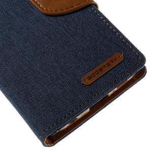 Luxury textilné / koženkové puzdro pre Samsung Galaxy S6 Edge - jeans - 7