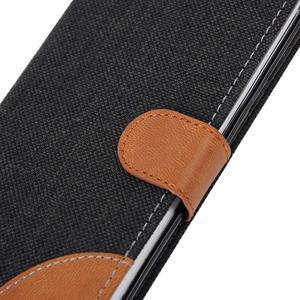 Jeans textilní/pu kožené puzdro na Samsung Galaxy S6 Edge - čierne - 7
