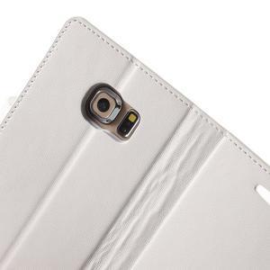 Wallet PU kožené puzdro pre Samsung Galaxy S6 Edge G925 -  biele - 7